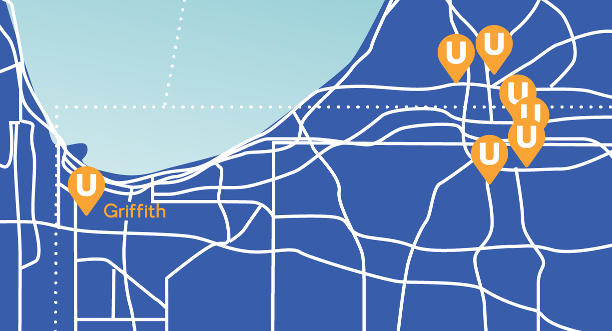 United Indiana Branches Map