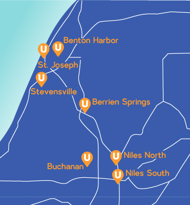 United Southwest Michigan Branches Map